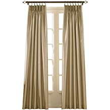 """Curtainworks Marquee Faux Silk Pinch Pleat Curtain Panel, 30 by 95"""", Sand"""