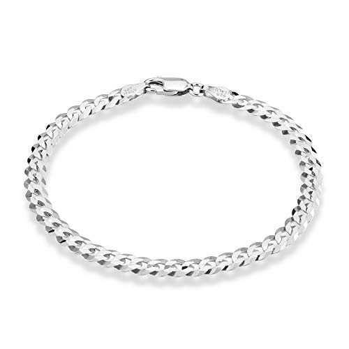 MiaBella 925 Sterling Silver Italian 5mm Solid Diamond-Cut Cuban Link Curb Chain Bracelet for Men Women, 7