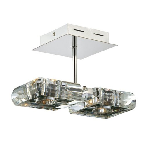 Kendal Lighting HSF18002-CH Optica Collection Semi-Flush, Chrome Finish with Optic Crystal Shades - Downlight Semi Flush