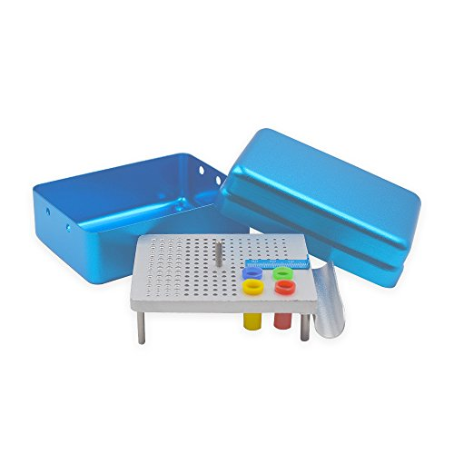180-Holes Dental Endo Box Storage Box Disinfection Boxed Set, Disinfection of Dental Burs File Drill Tooth Rubber Tip Tools (Aluminum 49 Teeth)