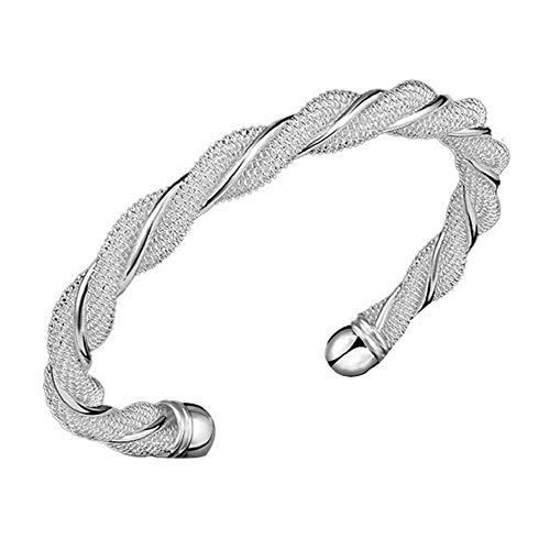 Woven Mesh Hand Bracelet - FAVOT Fashion Twisted Wire Mesh Silver Bracelet Round Double Line Open Women Hand Chain (Silver)