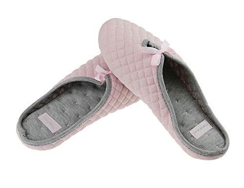 Ballet Style Cotton Slippers Mules Soft Warm Antiskid Slip-on Comfort Indoor Slippers Footwear Shoes for Women Ladies, UK Size 4-6 Pink