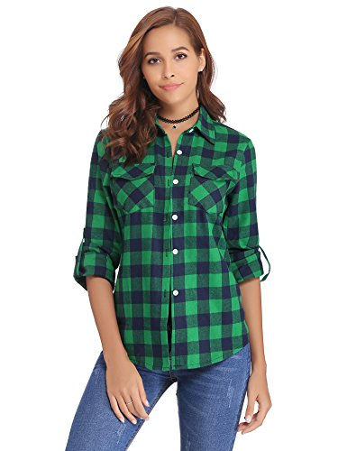 Down Shirt Green Button Plaid (Abollria Women's Roll up Long Sleeve Boyfriend Button Down Plaid Flannel Shirt (Green,XL)