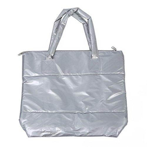 TOOGOO(R) Productos de venta caliente Bolso de algodon de moda de invierno de de color puro Bolso de hombro - Oro Plata