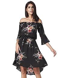 Women's Floral Print Off Shoulder Flute Sleeves Asymmetric Hem Dress