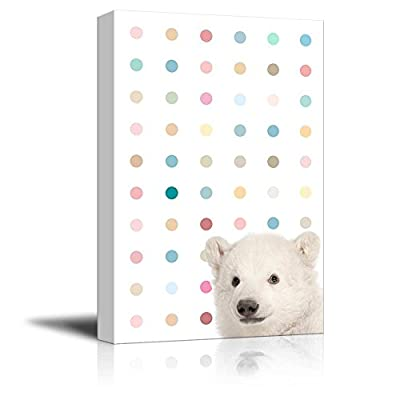 Peekaboo Animals Canvas Wall Art - White Polar Bear on Colorful Dots Background - Gallery Wrap Modern Home Art | Ready to Hang - 12x18 inches