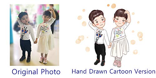 Moments Prints Custom Cartoon Portrait, Personalized Hand Painted Caricature, Cute Drawing for Family, Couple, Friends & Pets (jpg File) (1 ()