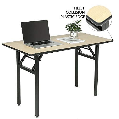 "Wove Computer Workstation Office Desk Folding Table Modern Minimalist Computer Desk No Need to Assemble Rounded Corner Collision Avoidance (55"", Maple)"