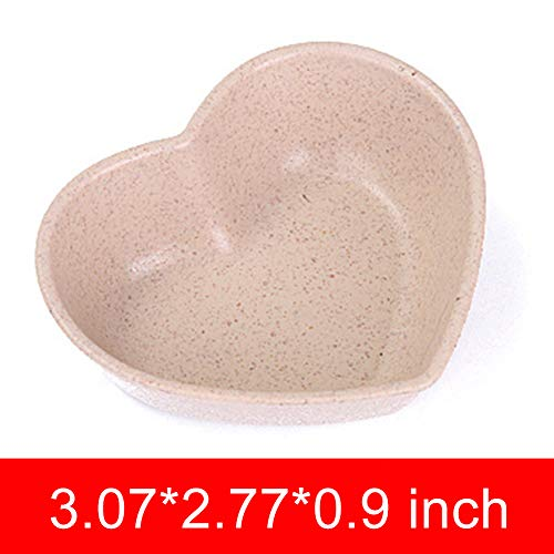 Alician Mini Wheat Straw Club Relish Plate for Pickles Sauce Kitchen Accessories Shape Heart-Shaped Beige