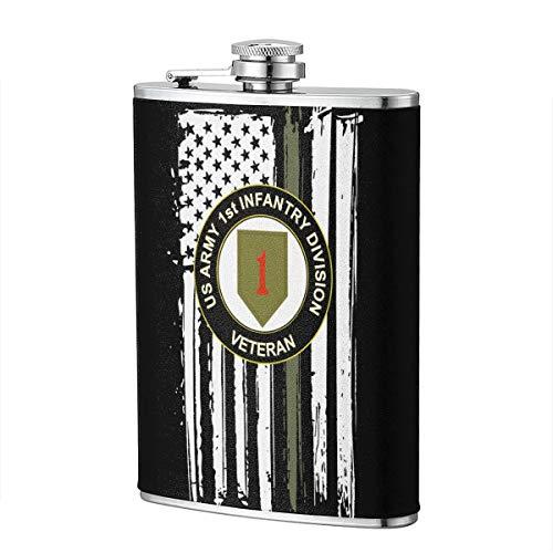 (US Army Veteran 1st Infantry Division Hip Flask for Liquor Flask Wine Flagon Mug Funny Novelty 8oz)