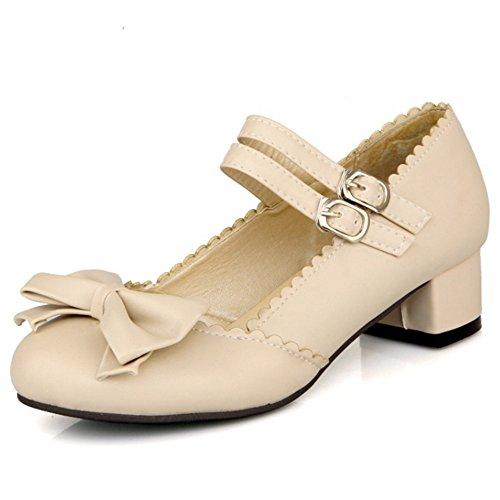 Al Tobillo Bajo Bowknot Zapatos Moda Beige Bombas Tacon Mujer COOLCEPT with OwEFqx7