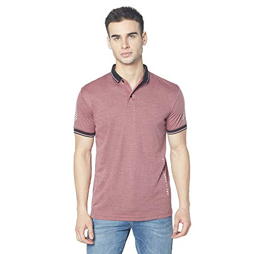 Oswal Men's Cotton Blend Half Sleeve Collar T-Shirt Mulberry Size L