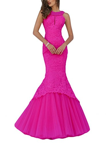 Promworld Women's Mermaid Lace Evening Gowns Halter Key Hole Beaded Long Prom Dress Fuschia US6