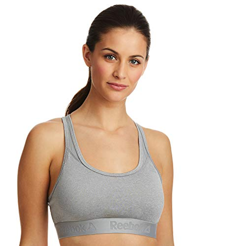 Reebok Women's Wireless Racerback Sports Bra - Medium Impact Bralette w/Keyhole Cutout - Grey Heather, Medium (Sports Medium Reebok Impact Bra)