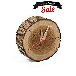 TreeHouse London Handmade Small 4 Silent Oak Wooden Table Clock with Bark. Easy Under $40. Minimalist Battery Operated, Analogue Clock for Desk/Bedside. Give The Gift of Time