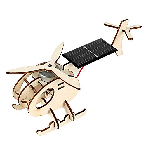 Wooden Aircraft Solar Energy Toy Crafts DIY Model Assembly Construction Airplane Puzzle Kit Mini-Plane Gift for Kids Adults