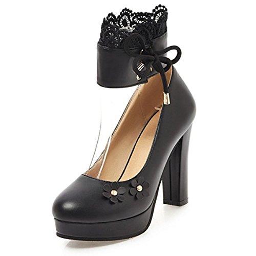 DIMAOL Chaussures Pour Femmes PU Printemps Automne Nouveauté Confort Talons Talon Chaussures Boucle en Applique Pour Mariage & Soirée Rose Noir Blanc,Black,US8/EU39/UK6/CN39