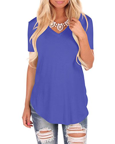 WFTBDREAM Womens Casual Summer V Neck Shirts for Party Solid Color Blue L