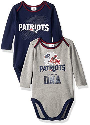 NFL New England Patriots Unisex-Baby 2-Pack Long-Sleeve Bodysuits, Blue, 0-3 Months ()