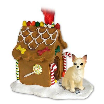 Eyedeal Figurines CHIHUAHUA Dog Tan NEW Resin GINGERBREAD HOUSE Christmas Ornament 06B