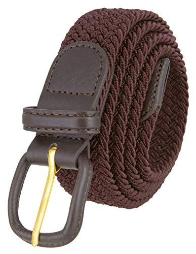 Belts.com Leather Covered Buckle Woven Elastic Stretch Belt, Brown, (M(34-36