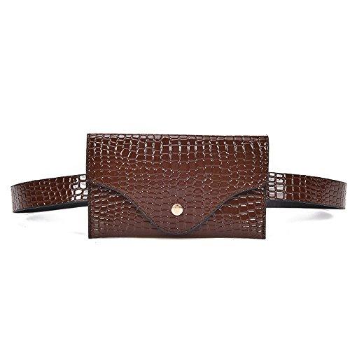Goddessvan Women Pure Color Stone Pattern Leather Messenger Shoulder Bag Chest Bag Fanny Pack Waist Bag Travel Pouch Brown