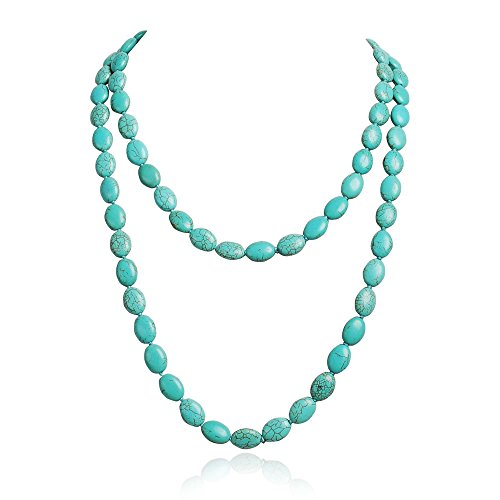 - JANE STONE Long Oval Shape Turquoise Layers Cluster Necklace Pendant Bib Jewelry (Fn1274-Turquoise)
