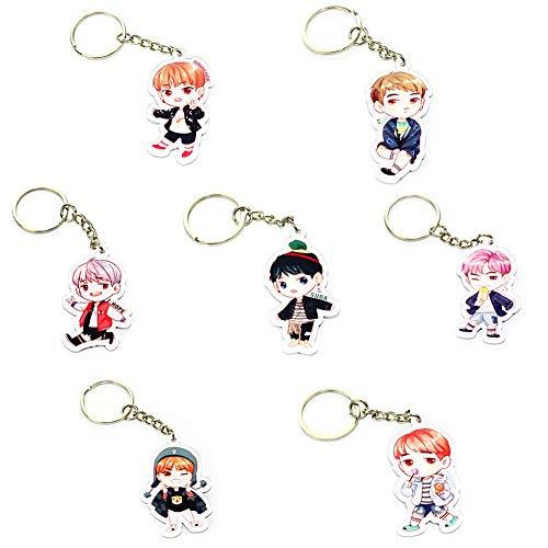 Cute Cartoon Kpop BTS Bangtan Boys Keychain Key Ring Hot Gift for A.R.M.Y, 7Pcs/Set (H01)