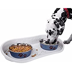 Petmaker Non Skid Dish Pet Bowl Dog Cat Food Tray Non Slip 21 x 10 Inches
