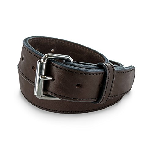 (Hanks Extreme - Leather Gun Belt for CCW - Concealed Carry - 17oz. Premium Leather Belt - Made in USA - 100-Year Warranty - Brown - Size)