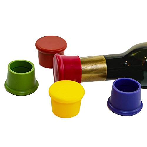 5 Wine Stoppers - Perfect Wine Gift Accessory, Set of 5 Funny Silicone Wine Reusable Caps Stoppers for Wine and Beer Bottles silica gel cover (Reusable Stoppers)