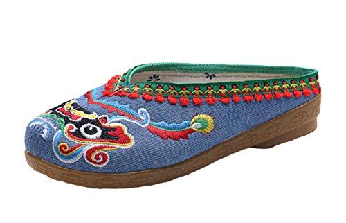 Scarpe Avacostume Cinese Tradizionale Danza Leone Ricamo Scarpe Di Lino Blu