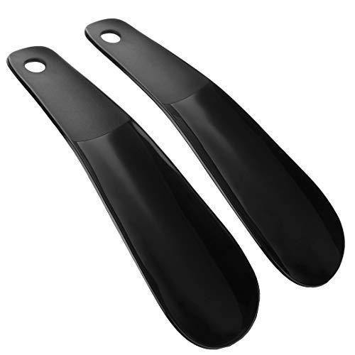 Plastic Shoe Horn Simple Flexible Sturdy Slip Black 2pcs]()