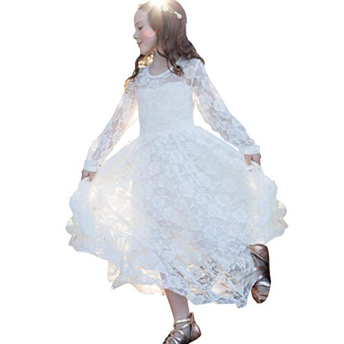 White Lace Flower Girl Dress Wedding Party Country Princess Dresses Boho Long Sleeves Gown-Baby Toddler Girls 2-3yrs