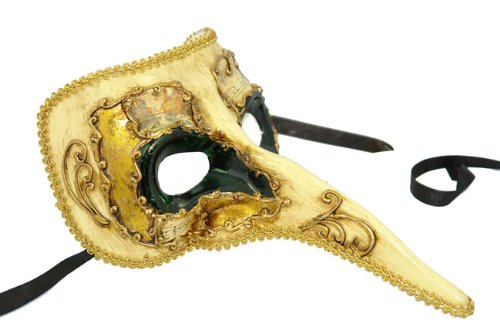 Decor Paper-mache Ornate Long Noses Masquerade Mask - Dark Green w/ Gold -