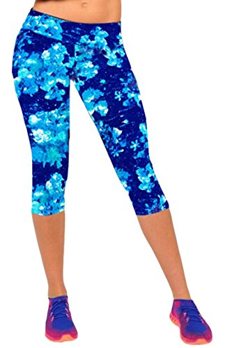 Ancia Womens Active Workout Capri Leggings Fitness Tights Pants Tracksuits Blue Snows M