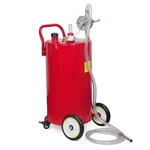 STKUSA Stark 35-Gallon Portable Fuel Transfer Gas Can Caddy Storage Tank Crank Pump 35 Gal-Capacity Pump w/Wheel