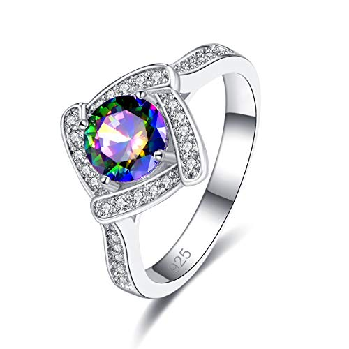 Psiroy 925 Sterling Silver Created Rainbow Topaz Filled Halo Engagement Solitaire Ring for Women Size 7
