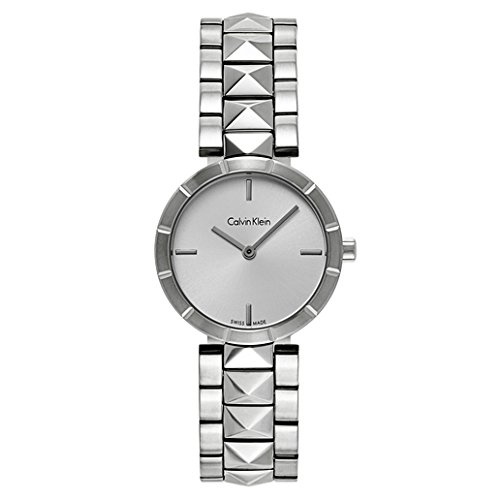 Calvin Klein Edge Womens Stainless Steel Watch with Metal Band - Ladies 30mm Analog Silver Face - Luxury Swiss Made Quartz Dress Watches For Women K5T33146 - Calvin Klein Swiss Made