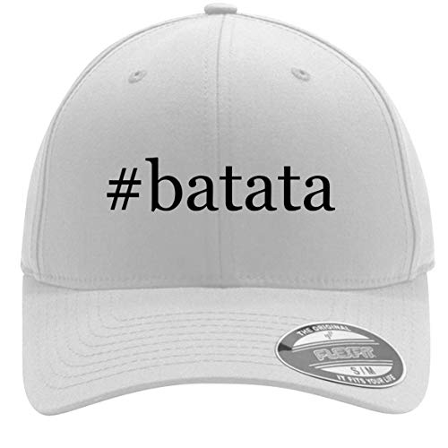 #Batata - Adult Men's Hashtag Flexfit Baseball Hat Cap, White, Large/X-Large