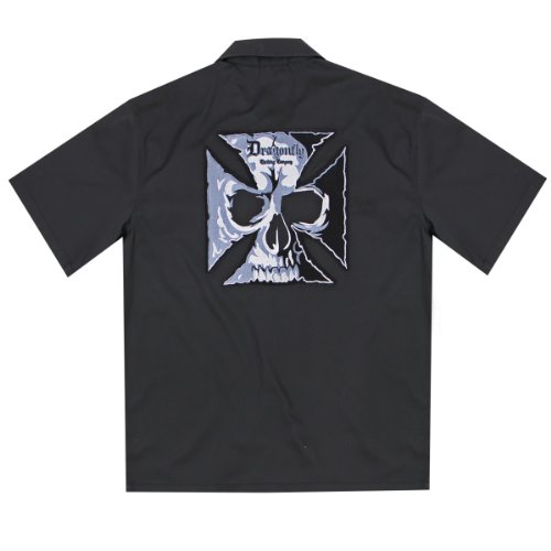 Dragonfly Roadhouse Cross and Skull Black Button up Short Sleeve Shirt - 2X-Large