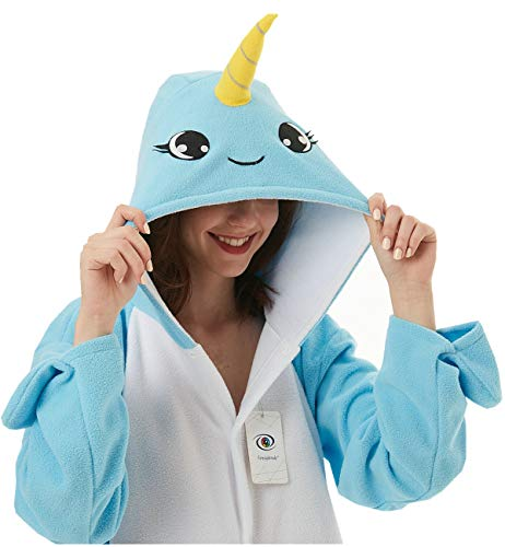 - Foresightrade Adults and Children Animal Narwhal Unicorn Cosplay Costume Pajamas Onesies Sleepwear (100# fits for Child Height 108-128cm, Narwhal Light Blue Eyelash)
