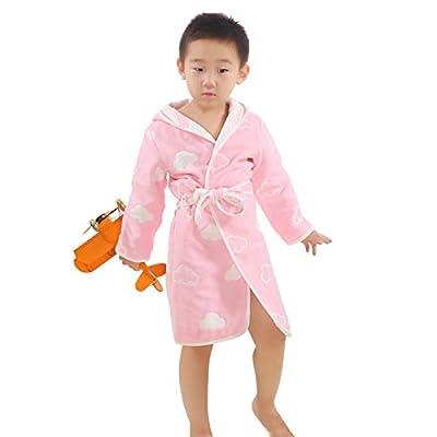 TOLLION 100% Organic Cotton Kids Robe Boys Girls Hooded Bathrobe Nightgown