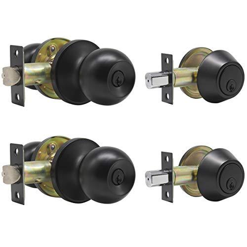 2 Set Entry Door Knob Lockset and Double Cylinder Deadbolt Combination Set, Flat Black Finish, Keyed Alike