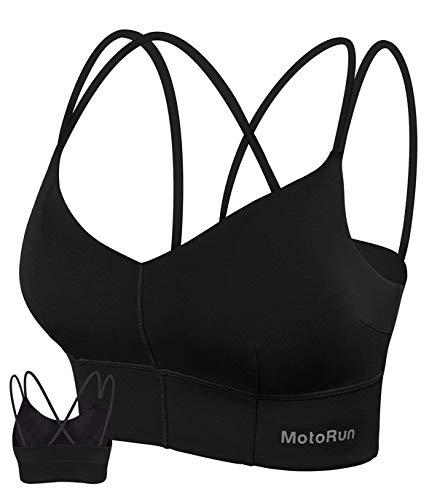 MotoRun Womens Push-up Padded Strappy Sports Bra Cross Back Wirefree Fitness Yoga Top Black L