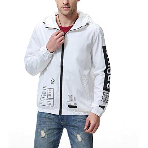 (Men's Lightweight Windproof Hoodies Jacket Packable Quick Dry Waterproof Windbreaker White)