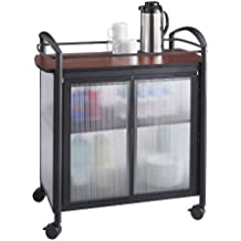 Safco Products 8966BL Impromptu Refreshment Hospitality Cart, Cherry Top/Black Frame