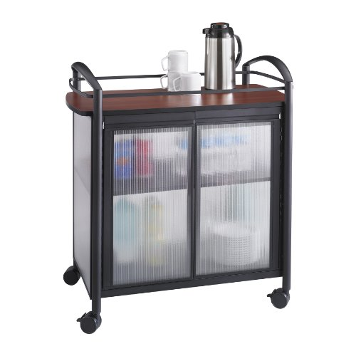 Refreshment Stand - Safco Products Impromptu Refreshment Cart 8966BL, Cherry Top/Black Frame, 200 lbs. Capacity, Double Doors, Swivel Wheels