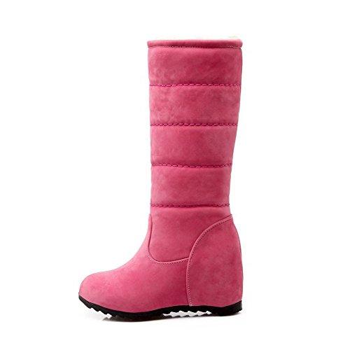 AllhqFashion Mujeres Gamuza(Imitado) Caña Media Sólido Sin cordones Tacón Alto Botas Rosa