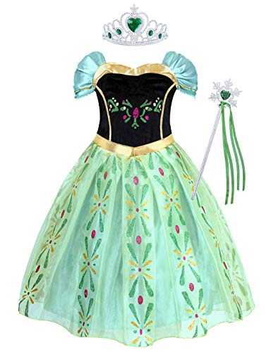 Cotrio Little Girls Anna Coronation Dress Up Princess Dresses Halloween Costume with Accessories Size 8 (7-8Years, Tiara/Crown, Wand/Scepter)